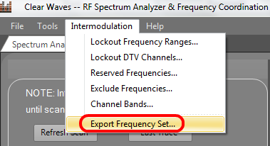 Clear Waves -- Export Frequency Set