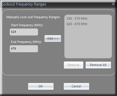 Clear Waves -- Lockout Frequency Ranges