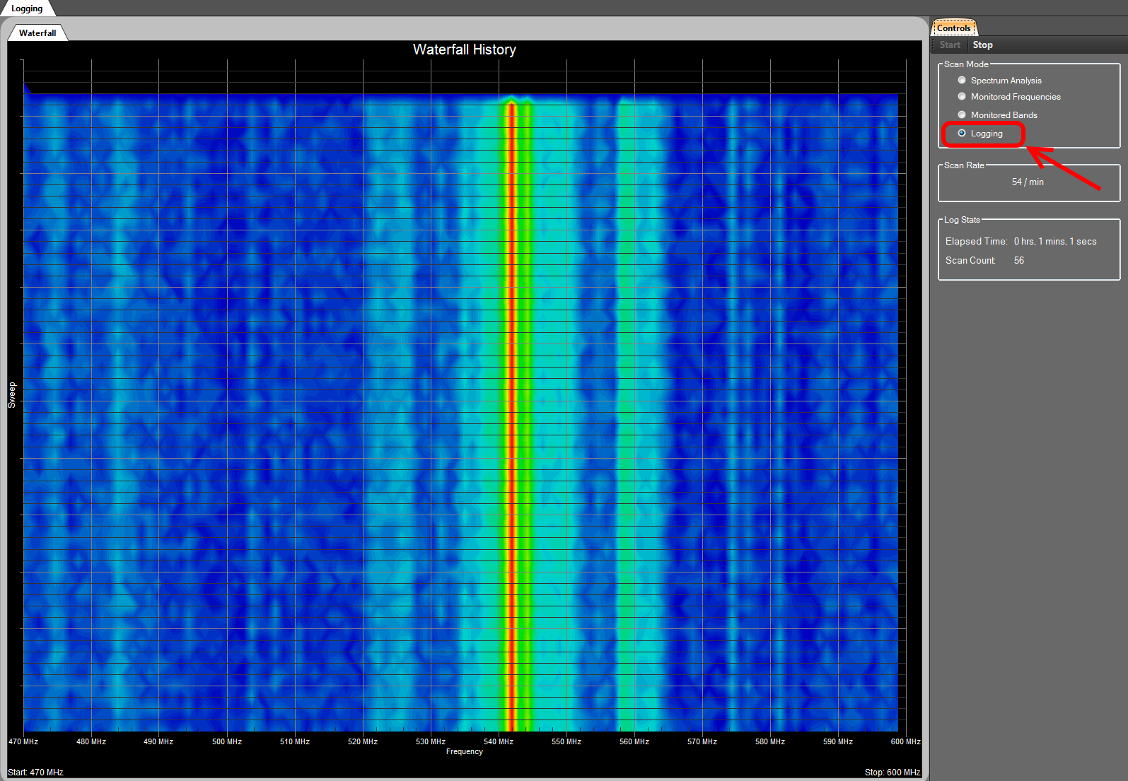 Touchstone RF spectrum analyzer software -- Data Logging mode