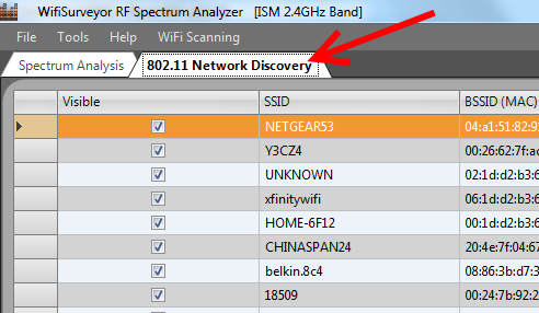 WiFi Surveyor -- Network Discovery Tab