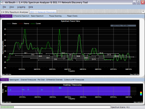 Background noise - as displayed by AirSleuth 2.4 GHz spectrum analyzer