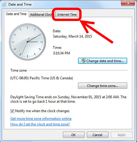Change Windows Internet Time Server