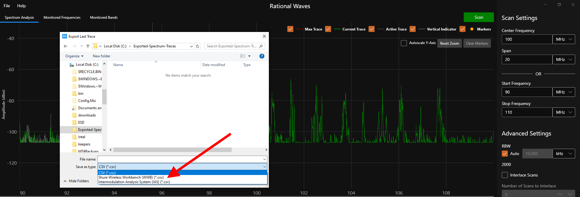 Rational Waves RF Spectrum Analysis Software