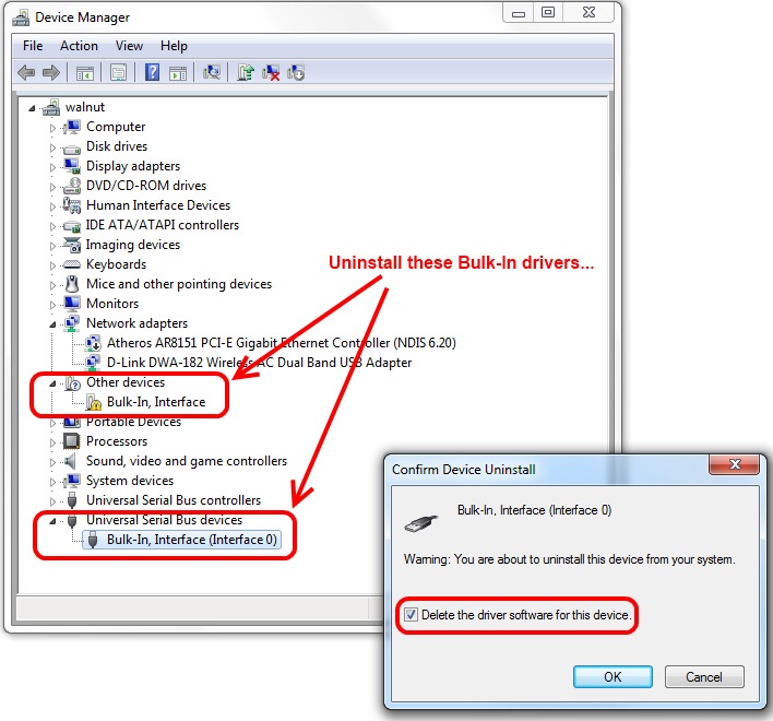 Device Manager -- Unininstall Bulk-In Drivers