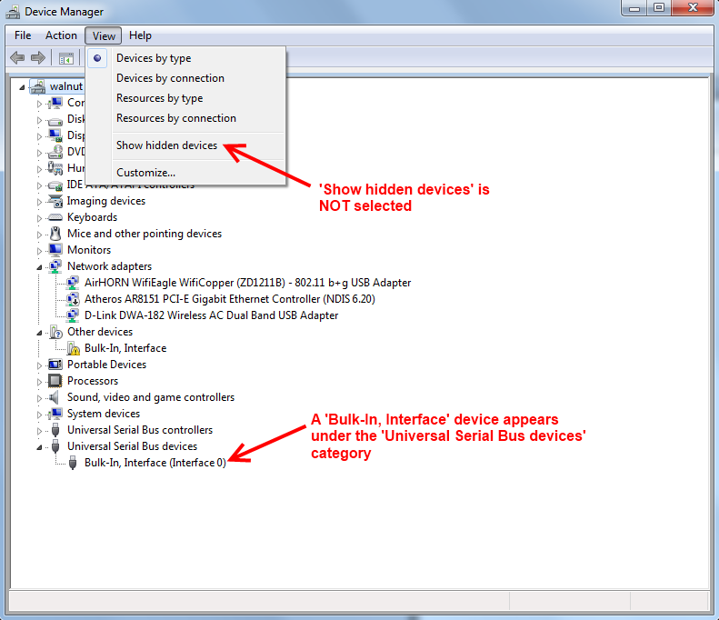 Device Manager -- Successful Install Bulk-In,Interface driver