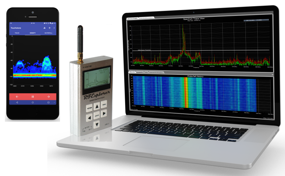 RF Explorer spectrum analyzer on a laptop and a mobile phone